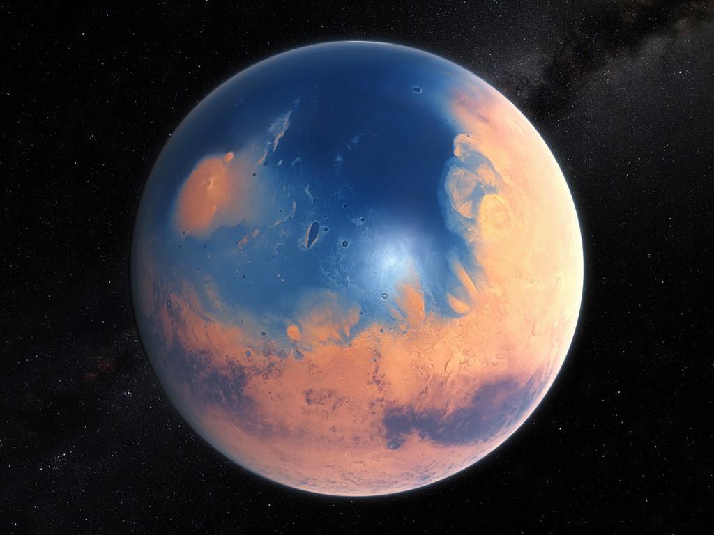 Concepción artística de la apariencia que Marte pudo tener hace cuatro mil millones de años. (Crédito: ESO/M. Kornmesser/N. Risinger.)