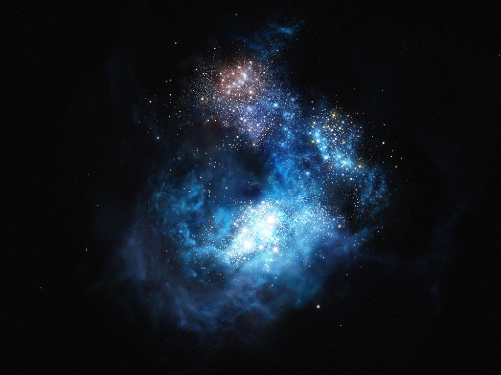 This artist's impression shows CR7 a very distant galaxy discovered using ESO's Very Large Telescope. It is by far the brightest galaxy yet found in the early Universe and there is strong evidence that examples of the first generation of stars lurk within it. These massive, brilliant, and previously purely theoretical objects were the creators of the first heavy elements in history — the elements necessary to forge the stars around us today, the planets that orbit them, and life as we know it. This newly found galaxy is three times brighter than the brightest distant galaxy known up to now.