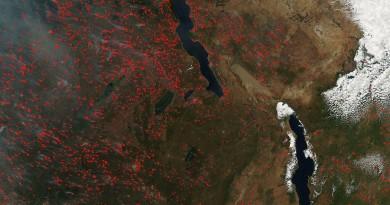 Incendios en el sureste africano
