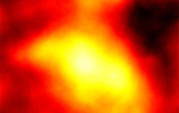 Imagen de la emisión de rayos gamma provenientes de Reticulum 2, una galaxia enana cercana a la Vía Láctea. Las áreas brillantes indican las zonas donde se han detectado las señales más intensas de rayos gamma en la galaxia. Crédito: NASA/DOE/Fermi-LAT /Geringer-Sameth y Walker/Carnegie Mellon University/Koushiappas/Brown University