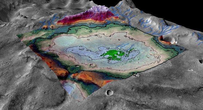 Representación del depósito de sal en Marte y del terreno circundante. Crédito: LASP /Brian Hynek