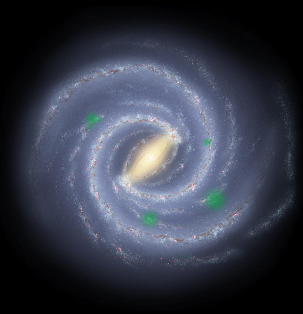 Concepción artística de la Vía Láctea que ejemplifica el modelo hipotético de las zonas de propagación de vida en una galaxia (representadas en color verde) Crédito: NASA/ JPL/ R. Hurt