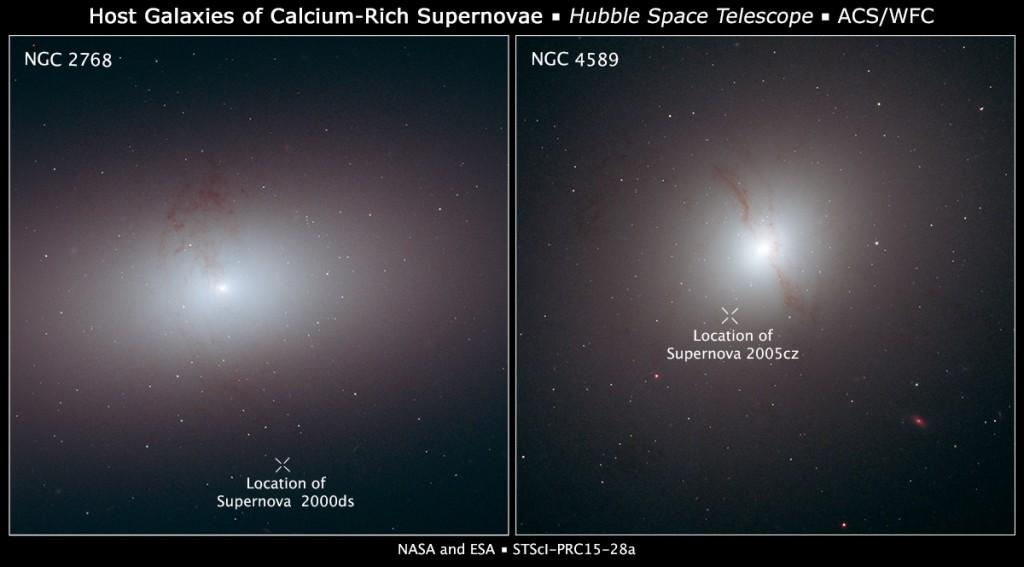 Imágenes que muestran dos supernovas alejadas de sus galaxias. El lugar de las supernovas está marcado con una X. Crédito: NASA / ESA