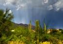 Rayos anticrepusculares y un arcoíris desde Arizona, Estados Unidos