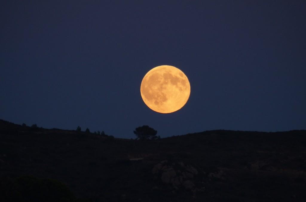 La luna llena desde la bah a de roses girona espa a for Hoy hay cambio de luna