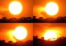 La secuencia de la puesta de Sol en Zimbabue