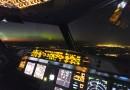 Auroras boreales desde un avión sobre Lituania