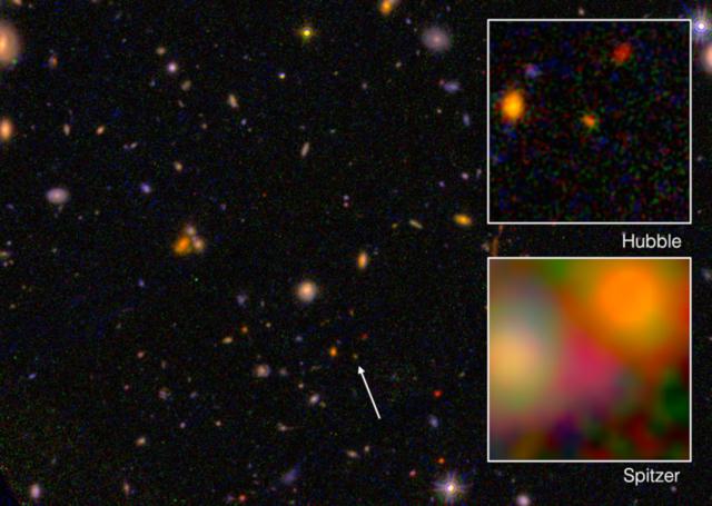 La Galaxia EGS8p7 vista desde el Hubble y el Spitzer. Crédito: NASA/ESA/JPL-Caltech