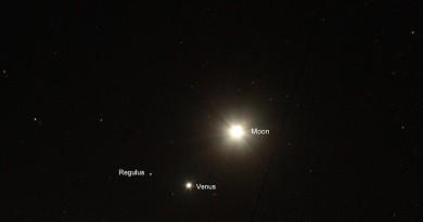 La Luna, Venus, Regulus, Marte y Júpiter desde Canadá