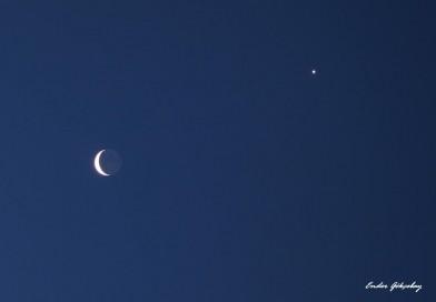 Venus y la Luna desde Estambul, Turquía