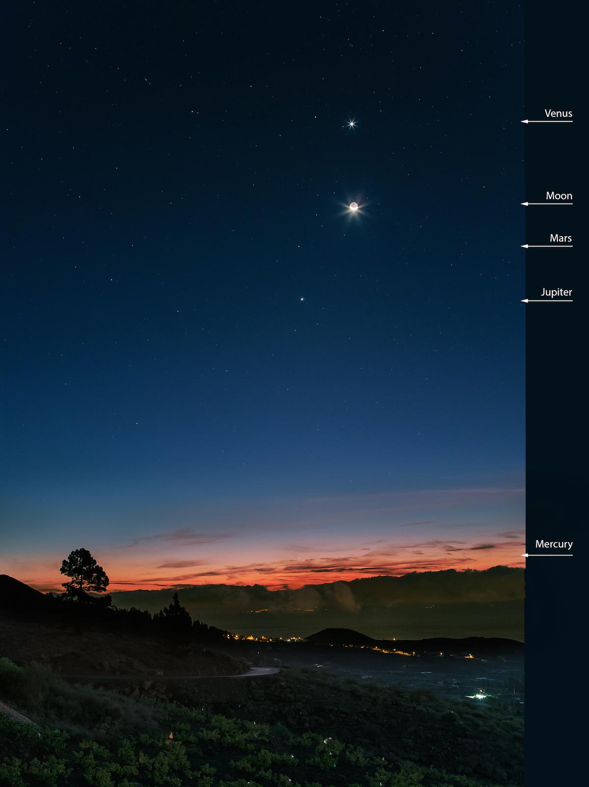 Venus, la Luna, Marte, Júpiter y Mercurio desde Tenerife ...