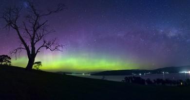Auroras australes y la Vía Láctea desde Tasmania