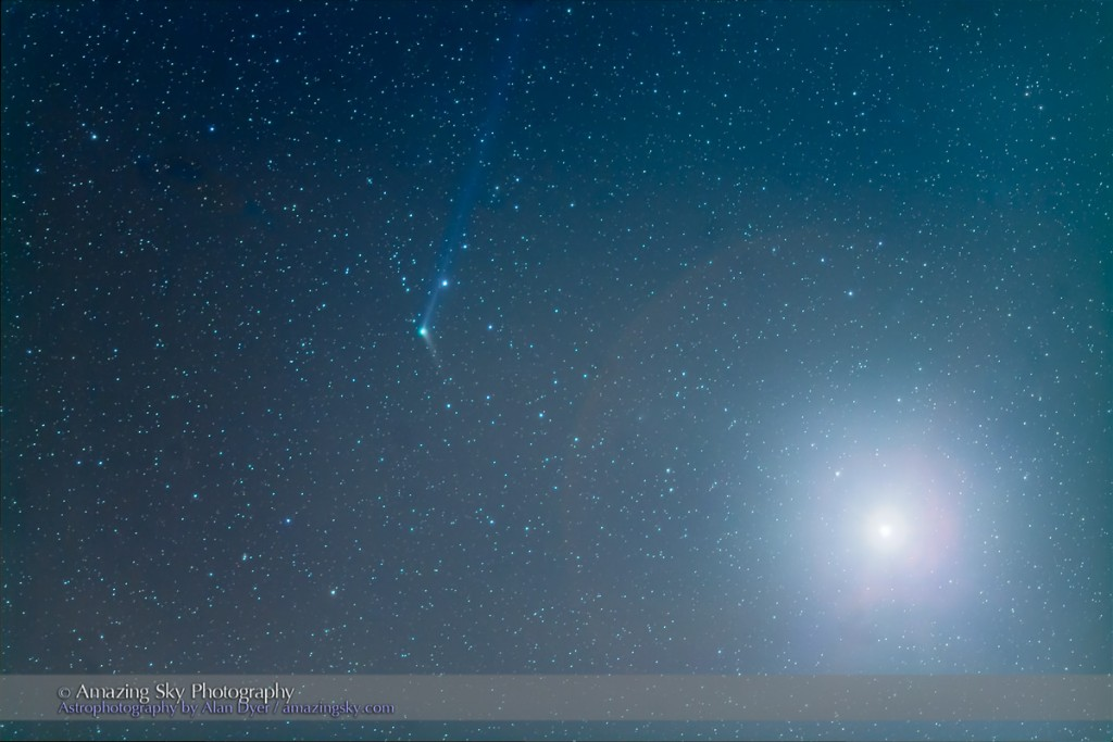 Comet Catalina, C/2013 US10, near Venus at right, on December 9, 2015, as seen and shot from Arizona, at the Quailway Cottage near Portal. The blue ion tail is visible stretching back several degrees pointing away from the Sun, while the short dust tail extends to the lower right following along the comet's orbit.  This is a stack of 5 x 90-second exposures, taken with the 135mm telephoto and 1.4x extender for a focal length of 190mm, at f/2.8 and with the Canon 5D MkII at ISO 1600, tracked on the iOptron Sky-Tracker. Two other exposures, of 15s and 1s were blended in with luminosity masks to reduce the glare of Venus to a smaller size.