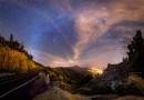 La Vía Láctea sobre el Teide y el valle de la Orotava, Tenerife (España)