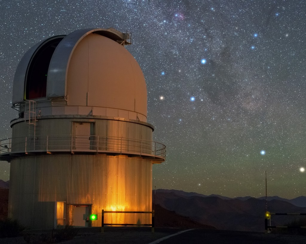 In the sky above ESO's La Silla Observatory, the Southern Cross is clearly visible just to the right of the dome of the Danish 1.54-metre telescope, and to the lower right of the image, two stars sparkle in the amazingly dark sky. From right to left, these are Alpha and Beta Centauri. Alpha Centauri is a multiple star, the nearest star system to Earth. A little closer to Earth than the bright components of Alpha Centauri, and invisible to the naked eye, is Proxima Centauri, the third star belonging to this multiple star system. It is our closest neighbour, at a distance of just 4.2 light-years. Previous observations have provided tantalising, but subtle, hints of a small companion orbiting this red dwarf star. An observing campaign that started in January 2016 will make a more sensitive search for the telltale wobbles in the dwarf star's orbital motion that might reveal the presence of an Earth-like orbiting planet: the Pale Red Dot campaign.  HARPS, the High Accuracy Radial velocity Planet Searcher instrument, which is attached to ESO's 3.6-metre telescope at La Silla will be used to search for a potential new planet. Measurements with HARPS will be complemented by observations at the Las Cumbres Observatory Global Telescope Network (LCOGT) and the Burst Optical Observer and Transient Exploring System (BOOTES). As well as giving the public the chance to follow the scientific observations as they arrive, the Pale Red Dot outreach campaign will reveal the often unseen side of planet hunting in background articles and through social media. An array of blog posts on many topics — including planet-hunting techniques, ESO's European Extremely Large Telescope (E-ELT), and the lives of stars — are planned. They will be written by the astronomers, scientists and engineers from the observatories involved, as well as by science writers, observers and other experts in the field.   Links  Pale Red Dot Announcement   Pale Red Dot blog ESOcast: Pale Red Dot Pale