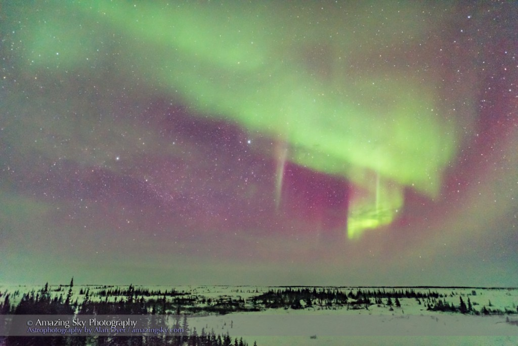 Auroral curtain to the northeast in a modest display on March 12, 2016 but seen through clouds that cleared after midnight after a very cloudy day. Shot from the deck of the CNSC. Vega and Lyra are at centre and Deneb is left of centre with the pattern of the Northern Cross and Cygnus visible.
