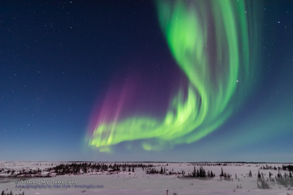 A superb display of aurora borealis seen on March 14, 2016 when it reached Level 5 storm levels. Here it begins in the evening twilight and in the light of the 6-day-old Moon. Jupiter is at right. This view is looking east. This was seen and shot from the Churchill Northern Studies Center, Churchill, Manitoba, with this image being one frame from some 2000 I shot this night as part of rapid-cadence time-lapse sequences. Frames were shot at f/1.4 with the Sigma 20mm lens and Nikon D750 using 1 to 2 second exposures.