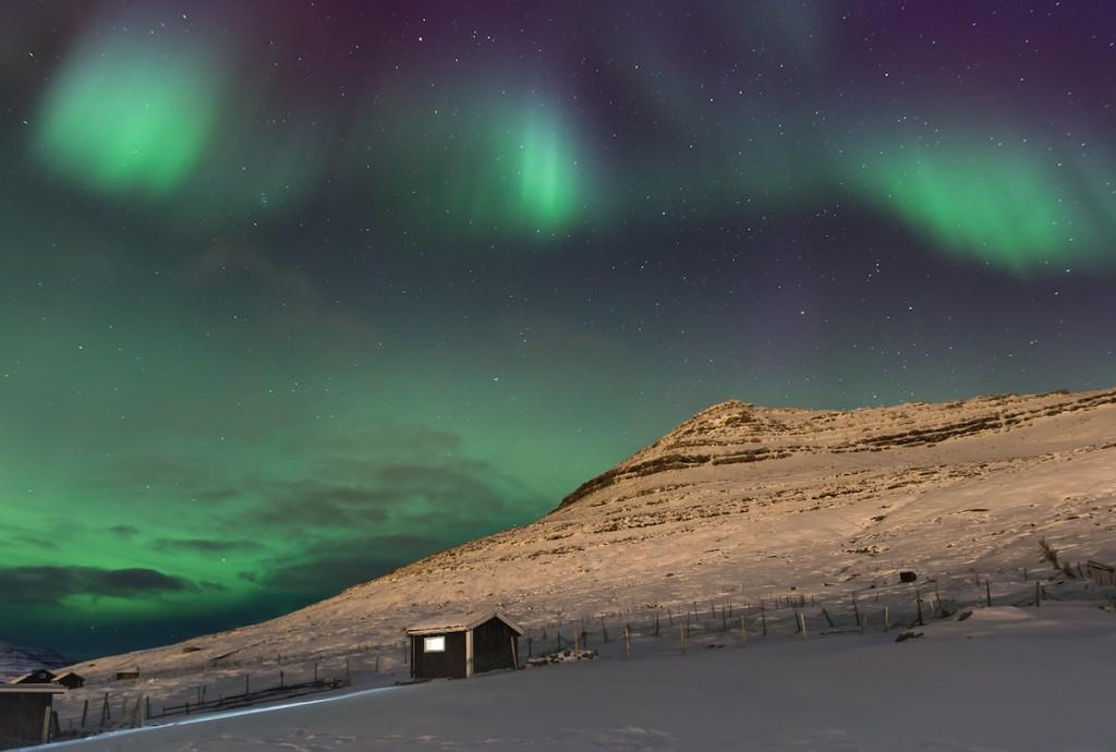 Northern light, night between 6 and 7 March 2016. Klaksvik, Faroe islands