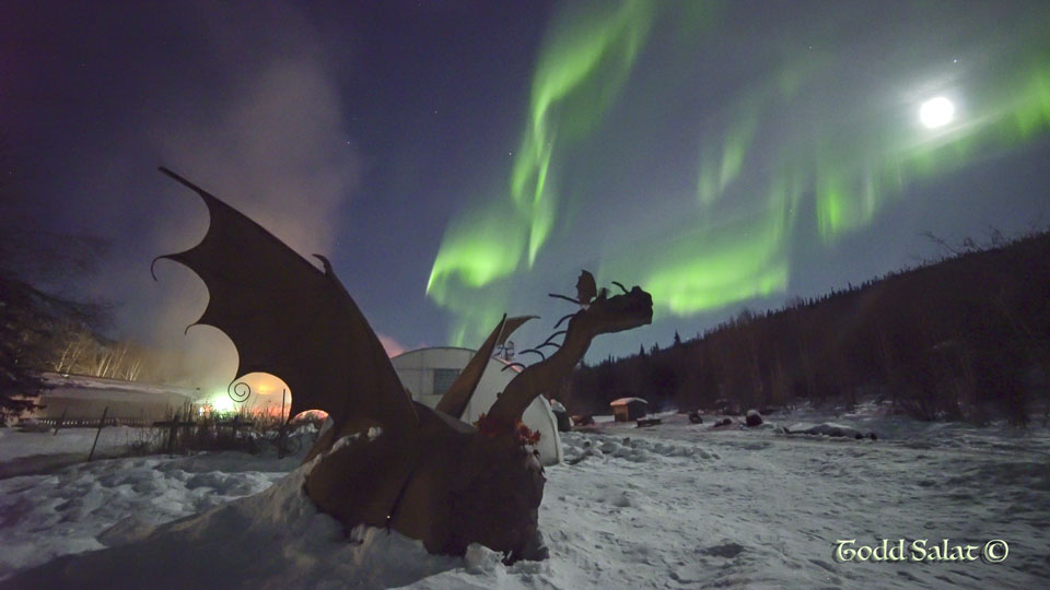 An AURORA-BREATHING DRAGON spreads its wings above Chena Hot Springs in the Interior of Alaska on March 22, 2016 around 1 am.