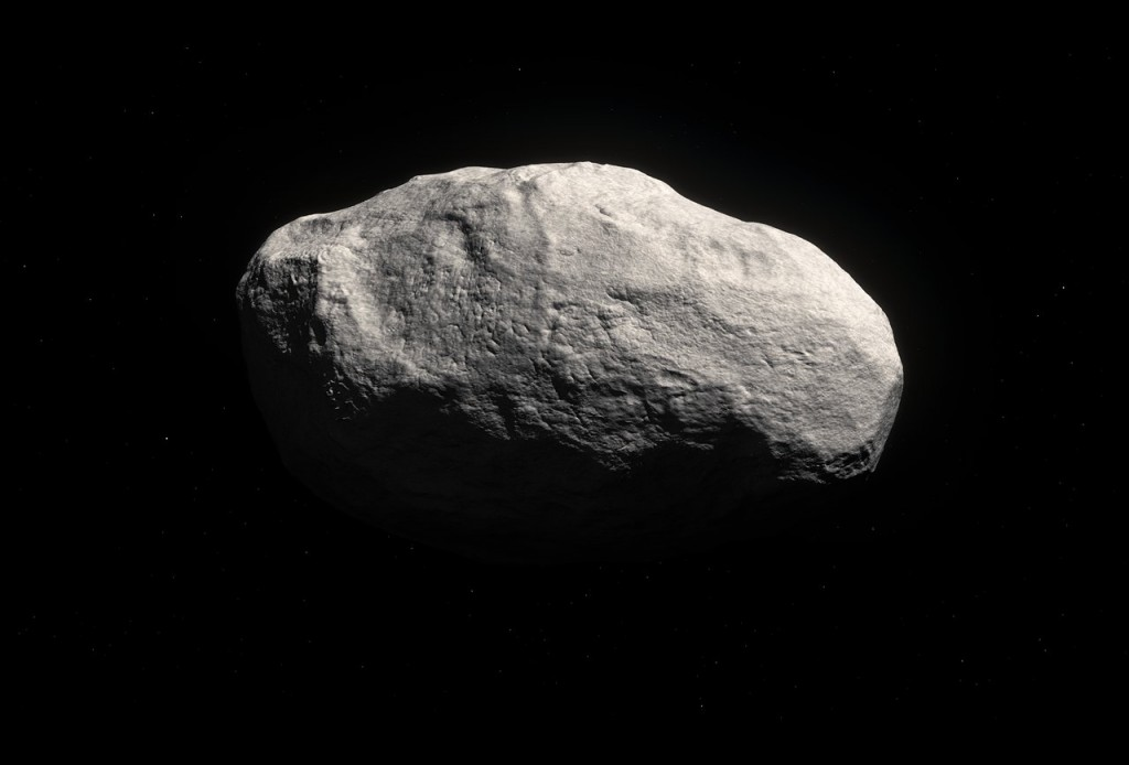 Artist's impression of the unique object C/2014 S3 (PANSTARRS). Observations with ESO's Very Large Telescope, and the Canada France Hawai`i Telescope, show that this is the first object to be discovered that is on a long-period cometary orbit, but that has the characteristics of a pristine inner Solar System asteroid. It may provide important clues about how the Solar System formed. Because the object has spent most of its life away from the inner Solar System it suffered very few collisions, and its surface displays few or no craters. As it formed in the same region as the Earth did, it is mostly rocky, and therefore has only very limited cometary activity.