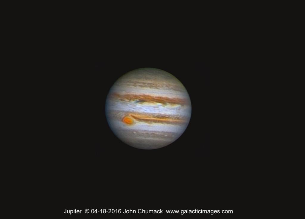 Jupiter on 04-18-2016  8Inch SCT scope & QHY5IIL CCD, 2x barlow,  2400 frames Astrostackert, Registax6, MaximDL, Adobe CS2015