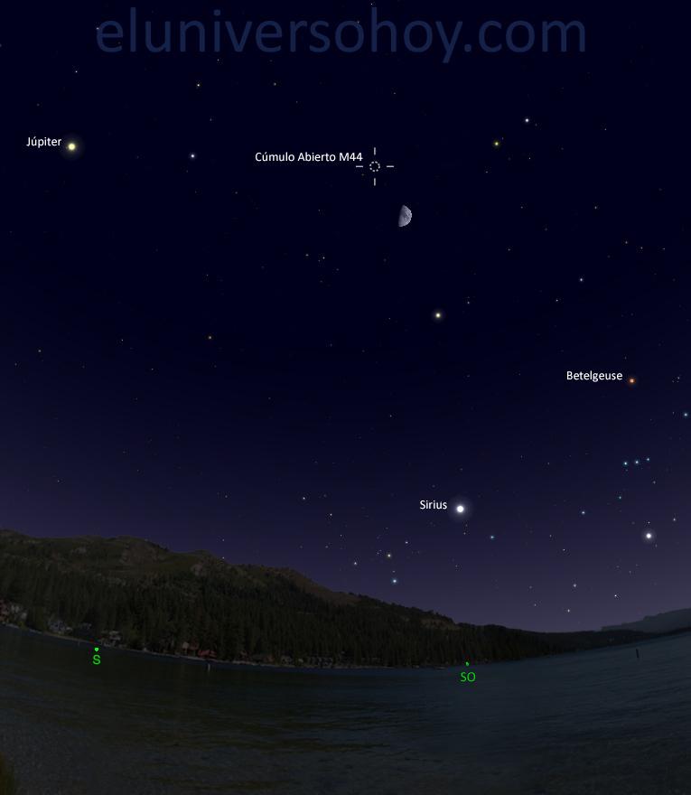 Esta noche se podrá ver la conjunción de la Luna y el cúmulo...