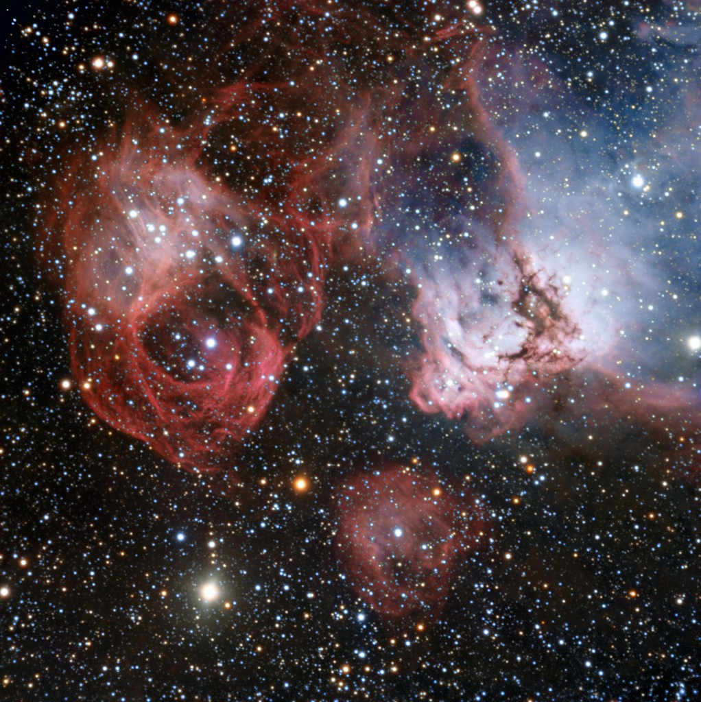 The Large Magellanic Cloud is one of the closest galaxies to our own. Astronomers have now used the power of the ESO's Very Large Telescope to explore NGC 2035, one of its lesser known regions, in great detail. This new image shows clouds of gas and dust where hot new stars are being born and are sculpting their surroundings into odd shapes. But the image also shows the effects of stellar death — filaments created by a supernova explosion (left).