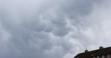 Foto de nubes mammatus en Cheltenham (Inglaterra)