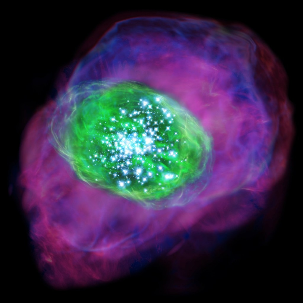 Many young bright stars are located in the galaxy and ionise the gas inside and around the galaxy. Green colour indicates the ionised oxygen detected by ALMA, whereas purple shows the distribution of ionised hydrogen detected by the Subaru Telescope.