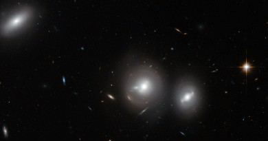 Un trío de galaxias brillantes en el Cúmulo de Coma