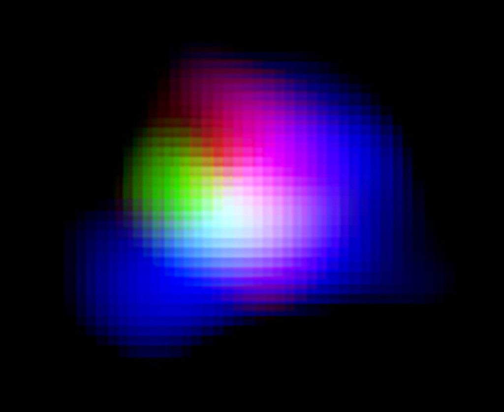 Light from ionised oxygen detected by ALMA is shown in green. Light from ionised hydrogen detected by the Subaru Telescope and ultraviolet light detected by the UK Infrared Telescope (UKIRT) are shown in blue and red, respectively.