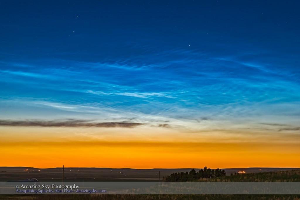 A display of noctilucent clouds, the first good display of the season from my area of southern Alberta, on June 17/18. 2016. This is with a 105mm telephoto and the Nikon D750, and is the first frame of a 1000-frame time-lapse sequence. However, as the Sun dropped farther below the horizon the clouds did lose illumination and faded, from the top down.