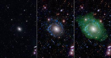 Una gigantesca galaxia ensamblada con partes de otras galaxias