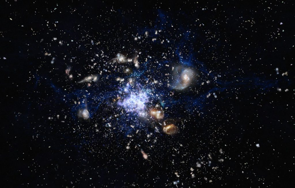 This artist's impression depicts the formation of a galaxy cluster in the early Universe. The galaxies are vigorously forming new stars and interacting with each other. Such a scene closely resembles the Spiderweb Galaxy (formally known as MRC 1138-262) and its surroundings, which is one of the best-studied protoclusters.