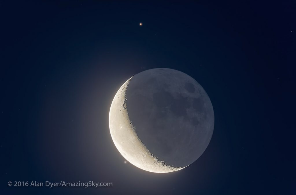 The waning crescent Moon near Aldebaran in a very close conjunction on the morning of July 29, 2016. We were perfectly positioned in Alberta to catch the Moon at its closest to the star and at the ideal time before the sky got too bright but with the Moon as high as possible in the sky. This is a stack of 7 exposures, from 2 seconds for the Earthshine, twilight sky colour and stars, to 1/125th second for the bright crescent. All were stacked, aligned and blended with luminosity masks, as HDR stacking left odd fringing artifacts on the slowly moving Moon, despite applying deghosting.  All with the 130mm Astro-Physics refractor at f/6 and Canon 60Da camera at ISO 400.