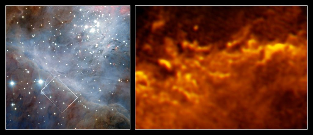 These images show the edge of the vast molecular cloud that lies behind the Orion Nebula, 1400 light-years from Earth. The image of the left shows a wide-field view of the region, as seen with the HAWK-I instrument, installed at the Very Large Telescope. A small region is highlighted with a white rectangle, and the rightmost image shows that region in stunning fiery detail, observed with the Atacama Large Millimeter/submillimeter Array (ALMA). As well as producing beautiful images, molecular clouds are of great interest to astronomers. The clouds are stellar nurseries and at their edge atoms react and form molecules by key astrochemical processes. With the ALMA observations scientists were able to resolve this transition from atomic to molecular gas at the border of the Orion molecular cloud. As Orion is the nearest massive star-forming region it is the ideal target to find out more about these astrochemical processes, and it also offers the possibility to study the interactions of newly formed stars with their surroundings in detail. Both observations show that this fascinating astrochemical transition from atomic to molecular gas happens in a highly dynamic environment. ALMA's view of the nebula particularly resembles the dark clouds of a huge upcoming storm in Earth's atmosphere.