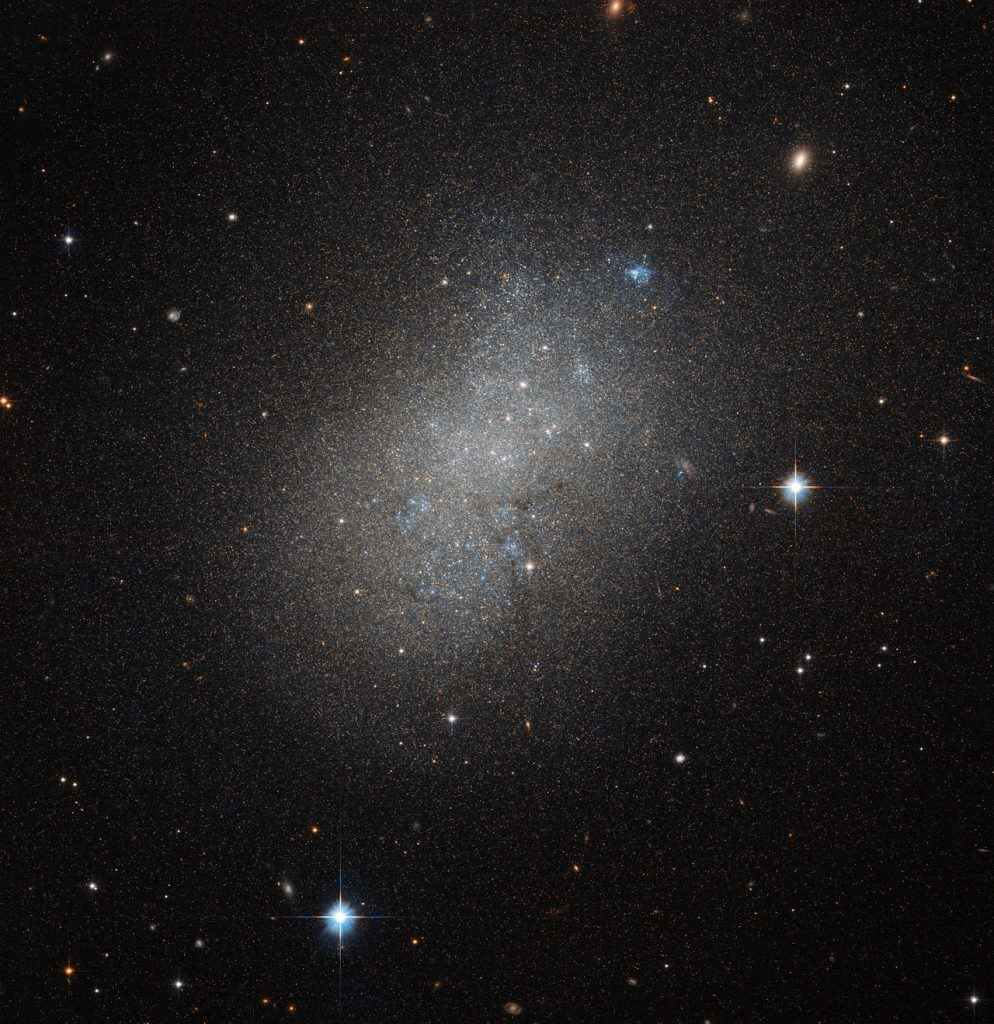 This image, courtesy of the NASA/ESA Hubble Space Telescope's Advanced Camera for Surveys (ACS), captures the glow of distant stars within NGC 5264, a dwarf galaxy located just over 15 million light-years away in the constellation of Hydra (The Sea Serpent). Dwarf galaxies like NGC 5264 typically possess around a billion stars — just one per cent of the number of stars found within the Milky Way. They are usually found orbiting other, larger, galaxies such as our own, and are thought to form from the material left over from the messy formation of their larger cosmic relatives. NGC 5264 clearly possesses an irregular shape — unlike the more common spiral or elliptical galaxies — with knots of blue star formation. Astronomers believe that this is due to the gravitational interactions between NGC 5264 and other galaxies nearby. These past flirtations sparked the formation of new generations of stars, which now glow in bright shades of blue.