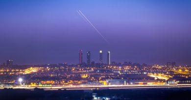 La puesta de Júpiter y Venus sobre Madrid, España