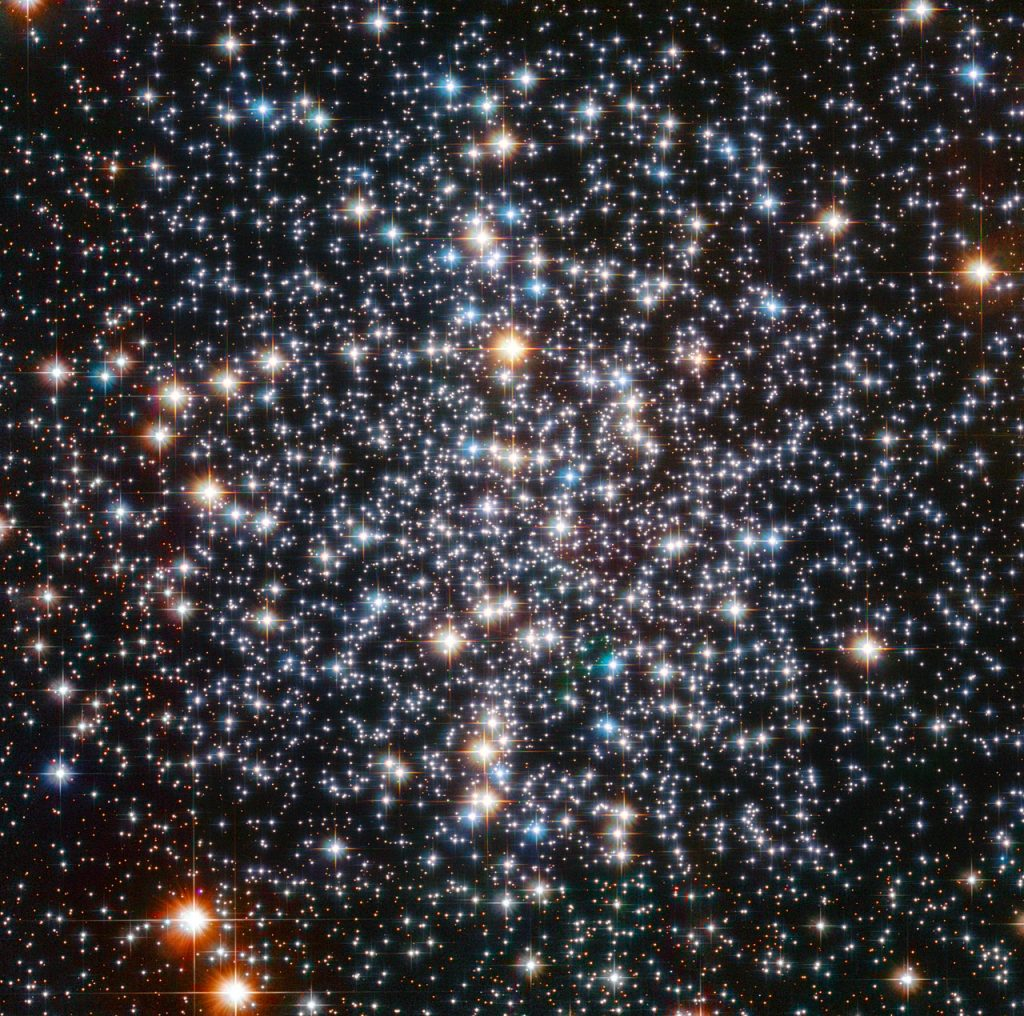 This  sparkling picture taken by the NASA/ESA Hubble Space Telescope shows  the centre of globular cluster M 4. The power of Hubble has resolved the  cluster into a multitude of glowing orbs, each a colossal nuclear  furnace. M  4 is relatively close to us, lying 7200 light-years distant, making it a  prime object for study. It contains several tens of thousand stars and  is noteworthy in being home to many white dwarfs — the cores of ancient, dying stars whose outer layers have drifted away into space. In  July 2003, Hubble helped make the astounding discovery of a planet  called PSR B1620-26 b, 2.5 times the mass of Jupiter, which is located  in this cluster. Its age is estimated to be around 13 billion years —  almost three times as old as the Solar System! It is also unusual in  that it orbits a binary system of a white dwarf and a pulsar (a type of  neutron star). Amateur  stargazers may like to track M 4 down in the night sky. Use binoculars  or a small telescope to scan the skies near the orange-red star Antares  in Scorpius. M 4 is bright for a globular cluster, but it won't  look anything like Hubble's detailed image: it will appear as a fuzzy  ball of light in your eyepiece. On  Wednesday 5 September, the European Southern Observatory (ESO) will  publish a wide-field image of M 4, showing the full spheroidal shape of  the globular cluster. See it at www.eso.org on Wednesday.