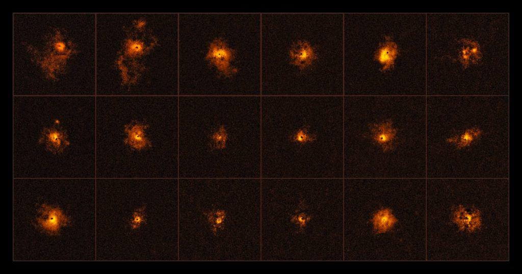 This mosaic shows 18 of the 19 quasars observed by an international team of astronomers, led by the ETH Zurich, Switzerland. Each observed quasar is surrounded by a bright gaseous halo. It is the first time that a survey of quasars shows such bright halos around all of the observed quasars. The discovery was made using the MUSE instrument at ESO's Very Large Telescope.