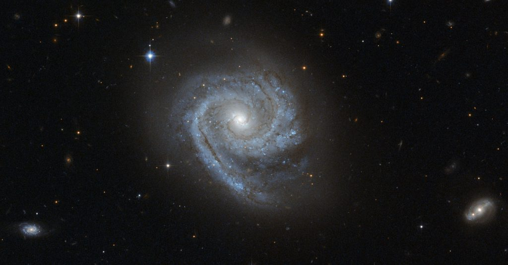 The NASA/ESA Hubble Space Telescope captured this image of the spiral galaxy known as ESO 498-G5. One interesting feature of this galaxy is that its spiral arms wind all the way into the centre, so that ESO 498-G5's core looks like a bit like a miniature spiral galaxy. This sort of structure is in contrast to the elliptical star-filled centres (or bulges) of many other spiral galaxies, which instead appear as glowing masses, as in the case of NGC 6384. Astronomers refer to the distinctive spiral-like bulge of galaxies such as ESO 498-G5 as disc-type bulges, or pseudobulges, while bright elliptical centres are called classical bulges. Observations from the Hubble Space Telescope, which does not have to contend with the distorting effects of Earth's atmosphere, have helped to reveal that these two different types of galactic centres exist. These observations have also shown that star formation is still going on in disc-type bulges and has ceased in classical bulges. This means that galaxies can be a bit like Russian matryoshka dolls: classical bulges look much like a miniature version of an elliptical galaxy, embedded in the centre of a spiral, while disc-type bulges look like a second, smaller spiral galaxy located at the heart of the first — a spiral within a spiral. The similarities between types of galaxy bulge and types of galaxy go beyond their appearance. Just like giant elliptical galaxies, the classical bulges consist of great swarms of stars moving about in random orbits. Conversely, the structure and movement of stars within disc-type bulges mirror the spiral arms arrayed in a galaxy's disc. These differences suggest different origins for the two types of bulges: while classical bulges are thought to develop through major events, such as mergers with other galaxies, disc-type bulges evolve gradually, developing their spiral pattern as stars and gas migrate to the galaxy's centre. ESO 498-G5 is located around 100 million light-years away in the constella
