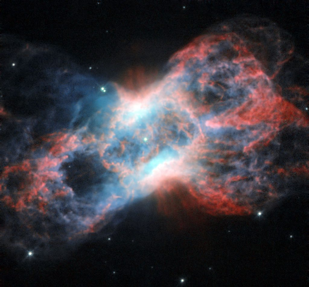 This image from the NASA/ESA Hubble Space Telescope shows NGC 7026, a planetary nebula. Located just beyond the tip of the tail of the constellation of Cygnus (The Swan), this butterfly-shaped cloud of glowing gas and dust is the wreckage of a star similar to the Sun. Planetary nebulae, despite their name, have nothing to do with planets. They are in fact a relatively short-lived phenomenon that occurs at the end of the life of mid-sized stars. As a star's source of nuclear fuel runs out, its outer layers are puffed out, leaving only the hot core of the star behind. As the gaseous envelope heats up, the atoms in it are excited, and it lights up like a fluorescent sign. Fluorescent lights on Earth get their bright colours from the gases they are filled with. Neon signs, famously, produce a bright red colour, while ultraviolet lights (black lights) typically contain mercury. The same goes for nebulae: their vivid colours are produced by the mix of gases present in them. This image of NGC 7026 shows starlight in green, light from glowing nitrogen gas in red, and light from oxygen in blue (in reality, this appears green, but the colour in this image has been shifted to increase the contrast). As well as visible light, NGC 7026 emits X-ray radiation, and has been studied by ESA's XMM-Newton space telescope. X-rays are a result of the extremely high temperatures of the gas in NGC 7026. This image was produced by the Wide Field and Planetary Camera 2 aboard the Hubble Space Telescope. The image is 35 by 35 arcseconds. A version of this image was entered into the Hubble's Hidden Treasures Competitionby contestant Linda Morgan-O'Connor. Hidden Treasures is an initiative to invite astronomy enthusiasts to search the Hubble archive for stunning images that have never been seen by the general public.