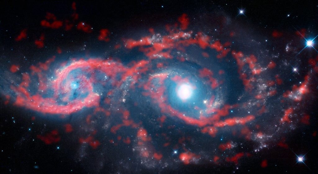 """Astronomers spend their time gazing out into the niverse — and occasionally the Universe seems to peer right back! This image, a composite of data from the Atacama Large Millimeter/submillimeter Array (ALMA) and the NASA/ESA Hubble Space Telescope, shows a very rare cosmic sight: a pair of interacting galaxies that have taken on an ocular structure. As the name suggests, some types of grazing encounters between galaxies create shapes that resemble the human eye. While galaxy collisions of this type are not uncommon, only a few galaxies with eye-like, or ocular, structures have been observed. The paucity of these features is likely due to their very ephemeral nature — ocular structures like these tend to only last for several tens of millions of years, which is merely the blink of an eye in a galactic lifetime. These two galaxies are named IC 2163 (left) and NGC 2207 (right) — IC 2163 displays the ocular structure in this image. The duo lies approximately 114 million light-years from Earth in the direction of the constellation of Canis Major (The Greater Dog). The galaxies have brushed past each other — scraping the outer edges of their spiral arms —with IC 2163 passing behind NGC 2207. This glancing collision triggered a tsunami of stars and gas in IC 2163, with material in the outer portions of the disc of the galaxy travelling inwards This colossal wave of material decelerated rapidly moving from the outer to the inner edge of the eyelids and crashed midway through the galaxy's disc, producing dazzling ribbons of intense star formation and compressed ridges of gas and dust that resemble a pair of cosmic """"eyelids"""". Notes The Atacama Large Millimeter/submillimeter Array (ALMA), an international astronomy facility, is a partnership of the European Organisation for Astronomical Research in the Southern Hemisphere (ESO), the U.S. National Science Foundation (NSF) and the National Institutes of Natural Sciences (NINS) of Japan in cooperation with the"""