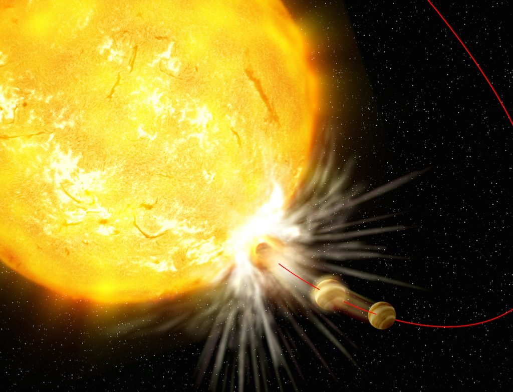 Artist's impression of the engulfment of a planet. Although this sounds like the recipe for a dramatic science-fiction story, there is observational evidence that planets may fall into their host stars.