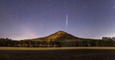 Imagen de una gemínida (meteoro) en Arkansas, Estados Unidos