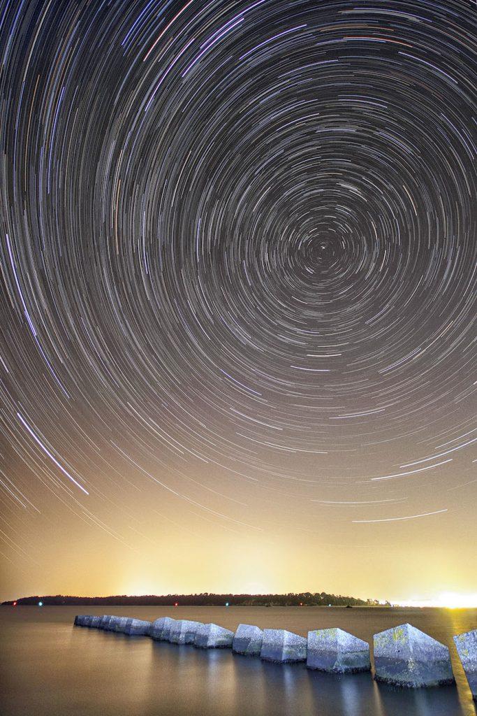 Star Trails over the Dragon's Teeth Studland Dorset