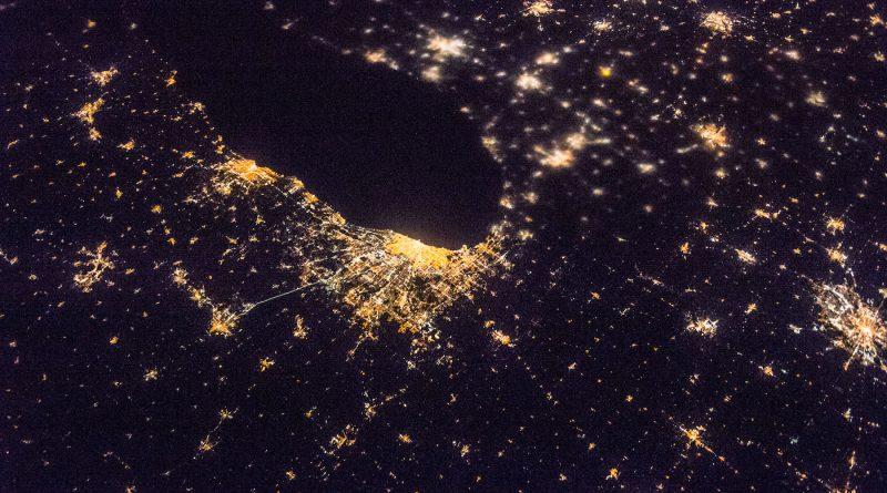 El Lago Míchigan y las ciudades de Chicago y Detroit desde la ISS