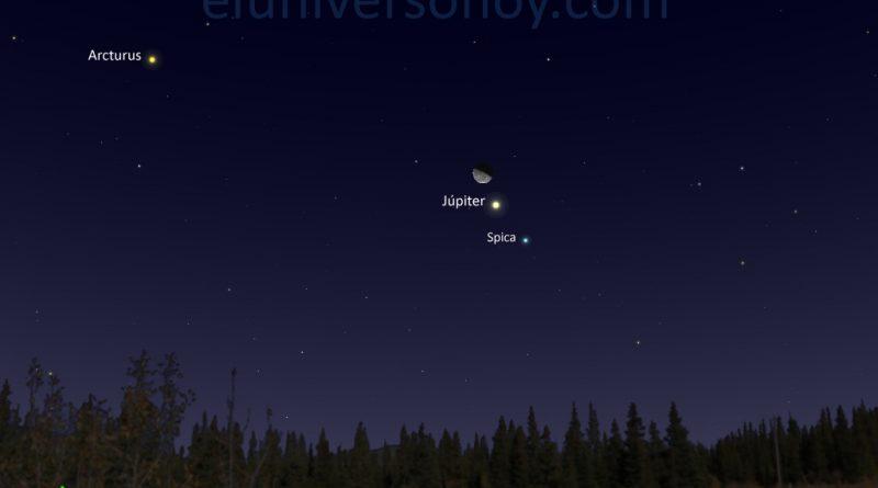 La conjunción de la Luna, Spica y Júpiter será visible la madrugada del 19 de enero
