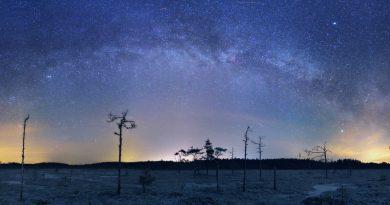 La Vía Láctea desde Inari, Finlandia