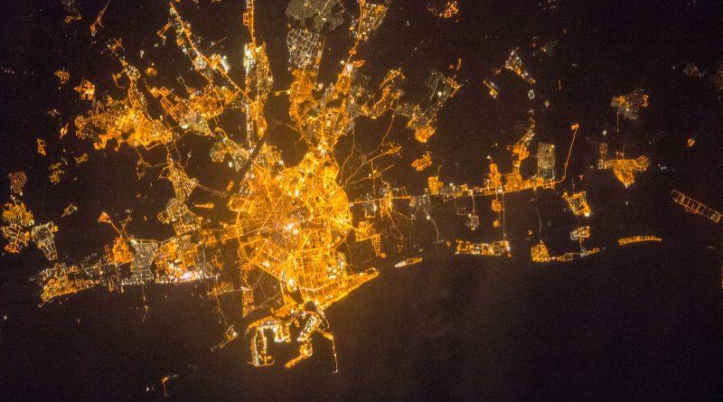 Valencia, España, desde la Estación Espacial Internacional